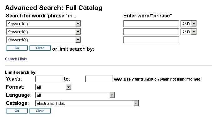 Advanced Search screen shot